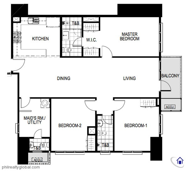 The Sequoia, Serendra 2 3 Bedroom Floor Plan