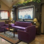 Waiting area has new purple sofa and animal print carpet