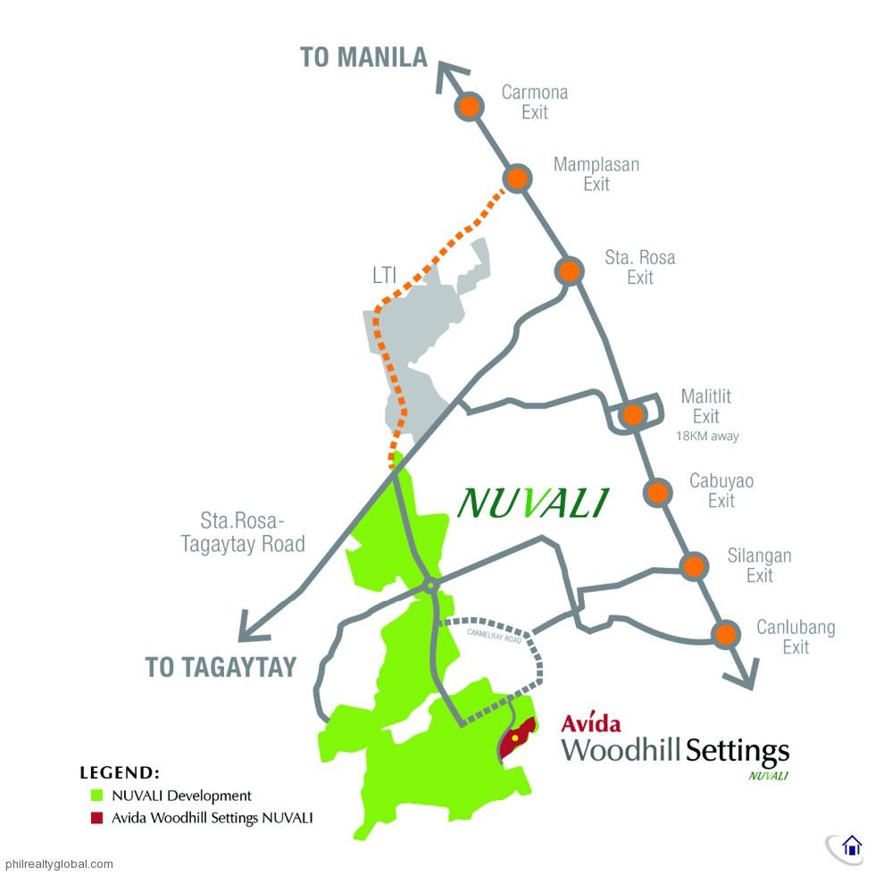 Avida Woodhill Settings NUVALI Location and Vicinity Map